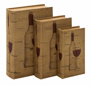 Wood Book Boxes - Matching Wine Faux Book Boxes - Set of 3 Brand Woodland
