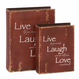 Wood Book Boxes - Wise Words Red Faux Book Boxes - Set of 3 Brand Woodland