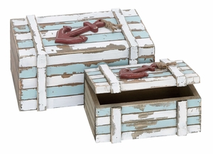 Wood Box Set/2 Nautical Accent For Storage Addition In Style Brand Woodland