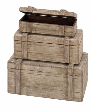 Wood Boxes Set/3 With Antiqued Look In Reclaimed Wood Finish Brand Woodland