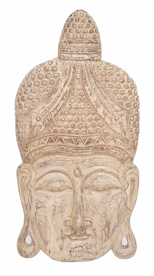 Wood Buddha Head Buddha Head Wall Decor Sculpture In Shabby White Brand Woodland