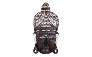Wood Buddha Head Wall Decor With Customary Crown Brand Woodland