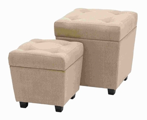 Wood Burlap Storage Stool with Comfort Cushioned Seating Brand Woodland