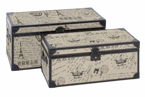 Wood Burlap Trunk S/2 Set Of Two Easy To Place Anywhere Trunks - 66693 By Benzara