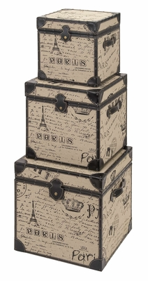 Wood Burlap Trunk Set/3, Cubic 20 Inch, 17 Inch, 14 Inch with Paris Design Brand Woodland