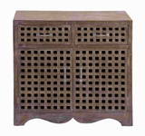 Wood Cabinet with Beautiful Carved Design in Modern Texture Brand Woodland