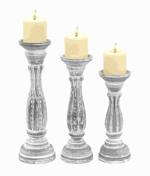 Wood Candle Holder in Classic Design with Sturdy Base (Set of 3) Brand Woodland