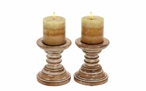 Wood Candle Holder Pair Shabby Brown Shade Makes It Classic Brand Woodland