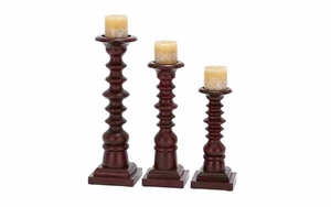 Wood Candle Holder Set/3 With Rope Grove Theme Brand Woodland