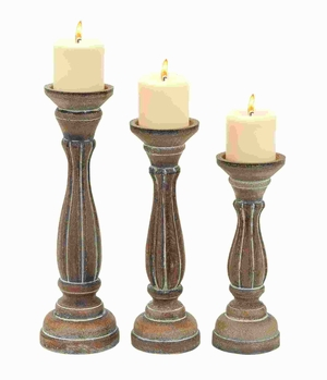 Wood Candle Holder Traditional Pillar Shaped Design (Set of 3) Brand Woodland