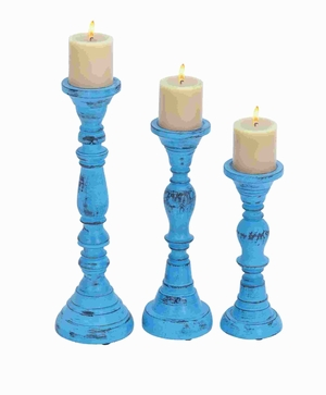 Wood Candle Holder with Bell Shaped Design Base (Set of 3) Brand Woodland