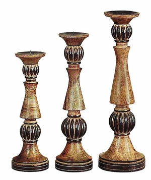 Wood Candle Holder with Sturdy Design and Detailing -Set of 3 Brand Woodland