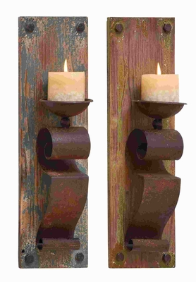 Wood Candle Scone Assorted Elegant and Sophisticated (Set of 2) Brand Woodland