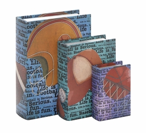 Wood Canvas Book Box Set/3 An Affordable Gift For Book Lovers Or Students Brand Woodland