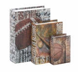 Wood Canvas Book Box Set/3 Sporty With Faux Leather Cover Brand Woodland