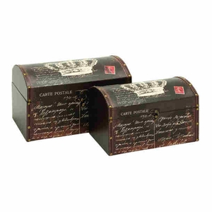 Wood Canvas Box in Postal Theme with Weathered Finish (Set of 2) Brand Woodland