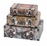 Wood Canvas Case Set/3 Vintage Sports Inspired Storage Addition Brand Woodland