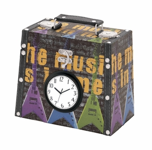 Wood Canvas Clock Box With Classic Modern Clock On Trunk Brand Woodland