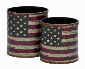 Wood Canvas Trash Can Simple Versatile Design (Set of 2) Brand Woodland