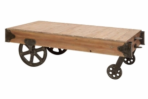 Wood Cart Coffee Table, 56 Inch Width, 16 Inch Height Brand Woodland
