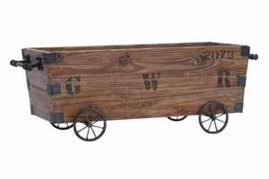 Wood Cart A Wood Storage Crate - 51666 by Benzara