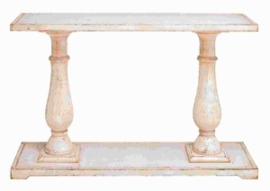 Wood Console Table with Refined and Elegant Style in Light Brown Brand Woodland