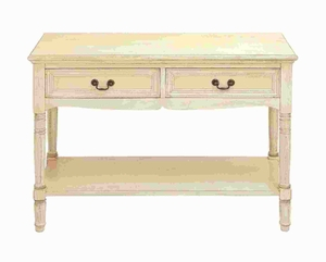 Wood Console with Additional Storage Capability and Brass Handles Brand Woodland