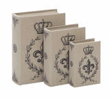 Wood Fabric Box Set /3 With Fluer-De-Lis And Crown Theme Brand Woodland