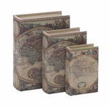 Wood Fabric Box Set /3 With Geographical Maps And Cultural Themes Brand Woodland