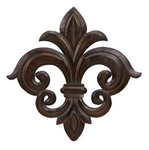 Wood Fleur Di Wall Decor in Brown Finish with Fine Detailing Brand Woodland