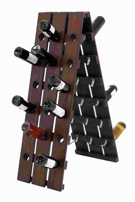 Wood Folding Wine Rack Unique Folding Design in Dark Brown Finish Brand Woodland