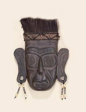 Wood Indian Mask in Dark Brown Finish with Antiqued Design Brand Woodland