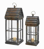 Wood Lanterns Unique House Shape with Wooden Finish (Set of 2) Brand Woodland
