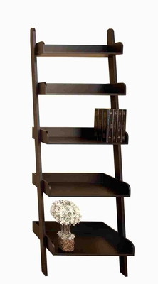 Wood Leaning Shelf Crafted with Classic Design in Deep Brown Brand Woodland