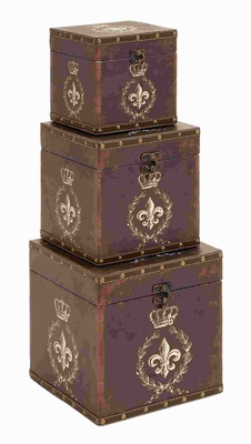 Wood Leather Box with Charming Fleur-De-Lis Patterns (Set of 3) Brand Woodland