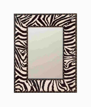 Wood Leather Mirror with Zebra Print in Contemporary Style Brand Woodland