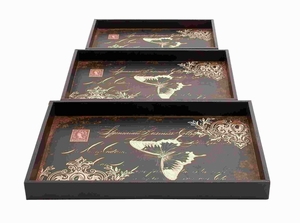 Wood Leather Trays Decorated with Bold Butterfly Motif (Set of 3) Brand Woodland