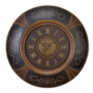 Wood Leather Wall Clock With Royal Look - 35017 by Benzara