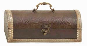 Wood Leather Wine Box Embossed with Leafy and Floral Structures Brand Woodland