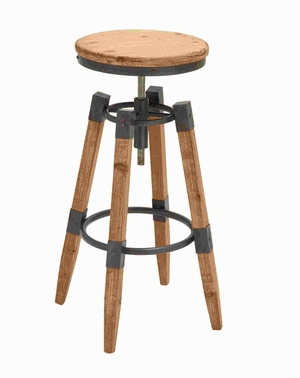 Wood Metal adjust Bar Stool Brandishing a Lacquered Finish Brand Woodland