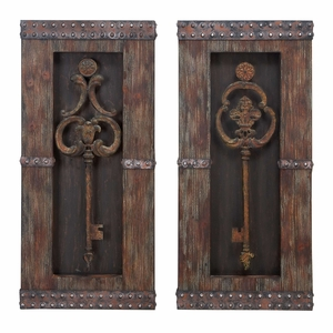 Wood Metal Antique Wall Deco 2 Asst, Key Design, 30 Inch Height Brand Woodland