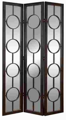 Wood Metal Glass 3 Panel Screen with Circular Detailing Brand Woodland
