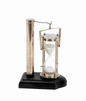 Wood Metal Glass Sand Timer with Real Sand and Glazed Finish Brand Woodland