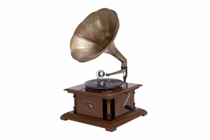Wood Metal Gramophone For Matching Your Passion For Music - 36312 by Benzara