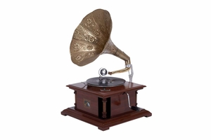 Wood Metal Gramophone -Elegant Music LP Player Brand Woodland