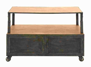 Wood Metal Media Table with Lustrous Sheen and Four Casters Brand Woodland
