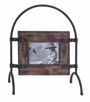 Wood Metal Photo Frame Great Display For Horizontally Taken Photographs Brand Woodland