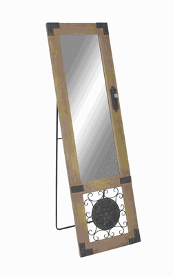 Wood Metal Standing Mirror with Cute Metal Design At the Base Brand Woodland