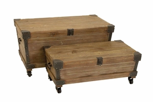 Wood Metal Trunk Crafted with Fine Detailing in Brown - Set of 2 Brand Woodland
