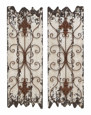 Wood Metal Wall Decor Set/2 Sculpture With Restoration Look Brand Woodland